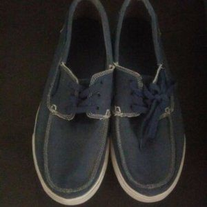 Authentic Sanuk Blue Jean Material Lace-Up Shoes